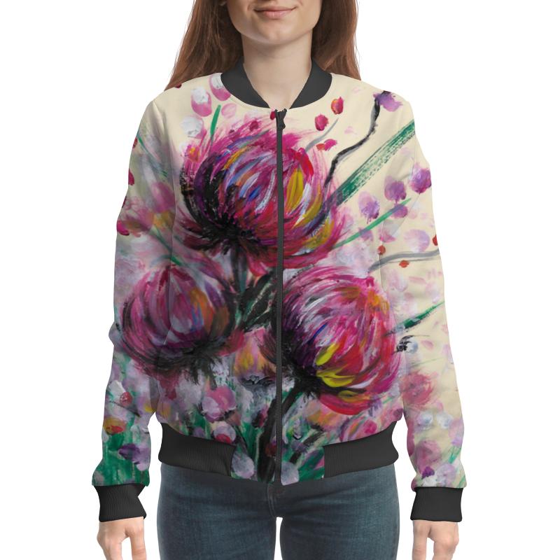 Бомбер Printio Розовые хризантемы