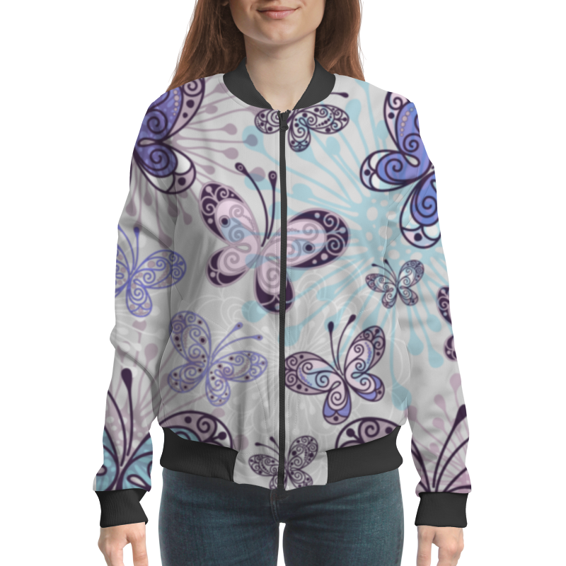 Бомбер Printio Фиолетовые бабочки