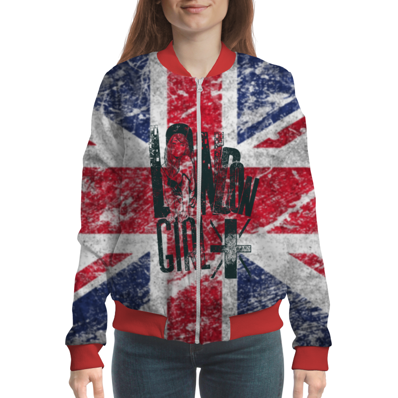 Бомбер Printio Union jack fun active color block union jack flag printed sweatshirt and pants twinset for women