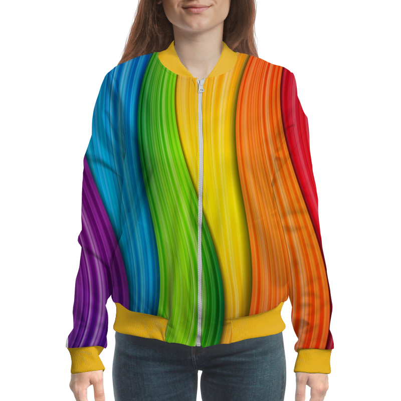 Бомбер Printio Colorful rainbow comfortable colorful feather pattern square shape pillowcase