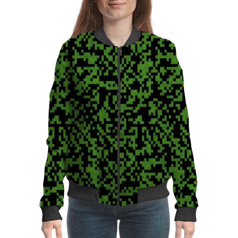 Бомбер Printio Зеленые пиксели