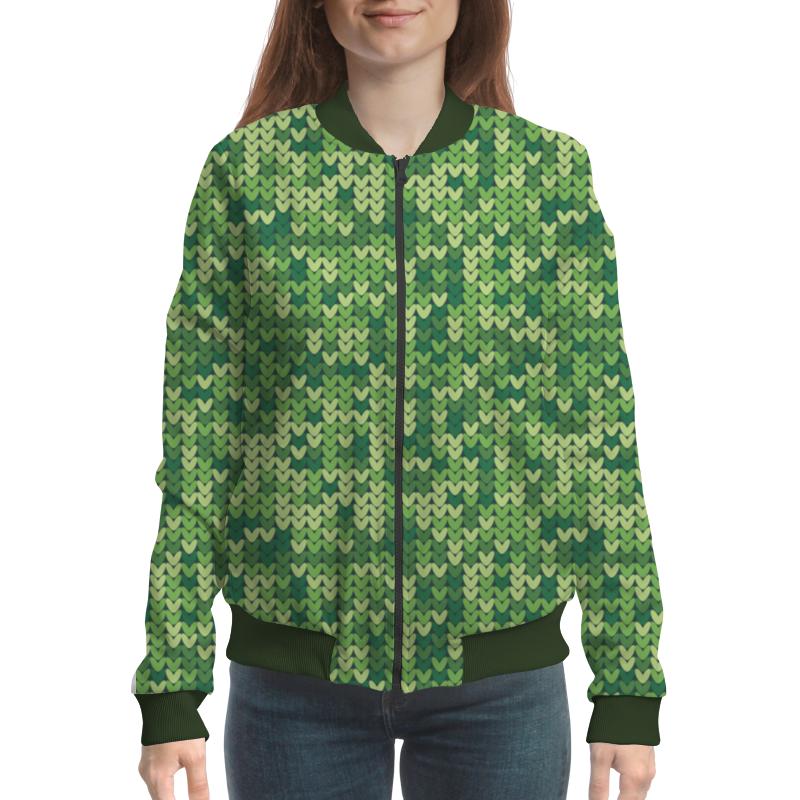 Бомбер Printio Вязаный узор зелёный цвет 9 12 months