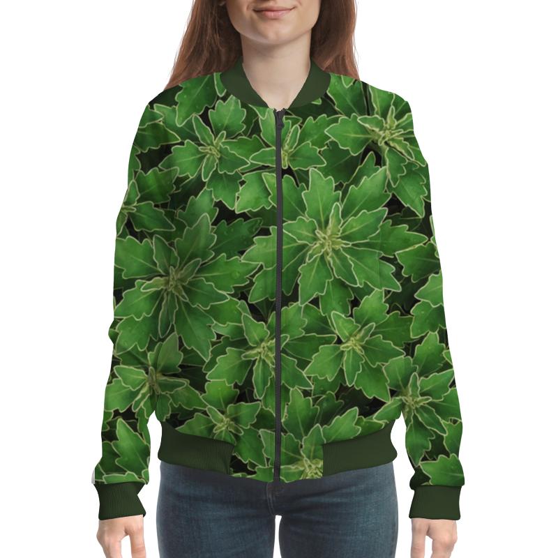 Бомбер Printio Зеленые листья цена и фото