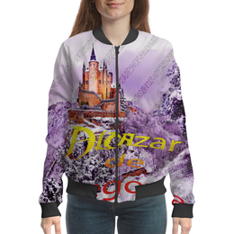 """Бомбер женский """"Испанский замок Сеговия."""" - сиреневый, фиолетовый, испания, полоски, крепость"""