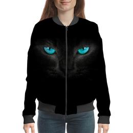 """Бомбер женский """"Взгляд черной кошки"""" - для девушек, cat, кошки, черная кошка, взгляд кошки"""