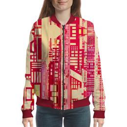 """Бомбер женский """"Город будущего"""" - красный, розовый, киберпанк, небоскребы, мегаполис"""