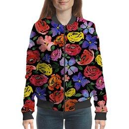"""Бомбер """"цветочки"""" - лето, цветы, узор, природа, цветочки"""