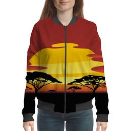 """Бомбер женский """"Африка"""" - солнце, африка, графика, закат, саванна"""