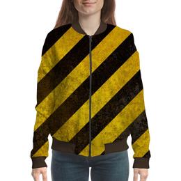 """Бомбер женский """"Полосы"""" - чёрный, жёлтый, полосы"""