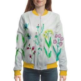 "Бомбер ""Бомбер Луговые цветы"" - цветы, луговые цветы, красота, лето"