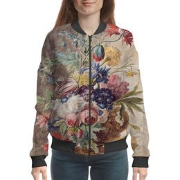 "Бомбер ""Цветочный натюрморт (Ян ван Хёйсум)"" - цветы, картина, живопись, натюрморт, ян ван хёйсум"