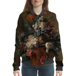 "Бомбер ""Ваза с цветами (Ян ван Хёйсум)"" - цветы, картина, живопись, натюрморт, ян ван хёйсум"