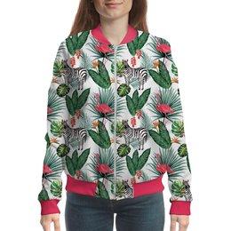 """Бомбер """"Flamingo&Zebra"""" - абстракция, флора, пальма, фламинго, зебра"""