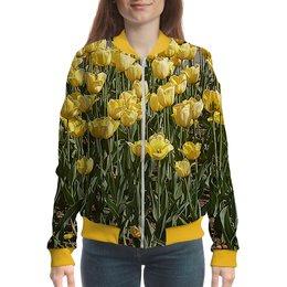 """Бомбер """"Солнечный тюльпан."""" - цветок, тюльпаны, тюльпан, яркое настроение, поле тюльпанов"""