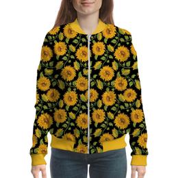 """Бомбер женский """"Подсолнухи"""" - цветы, подсолнухи"""