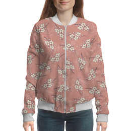 """Бомбер женский """"Цветочный"""" - цветы, розовый, вишня, ветка, фон"""