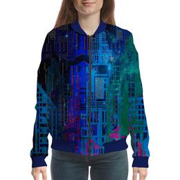 """Бомбер женский """"Космический город"""" - космос, графика, геометрия, небоскребы, мегаполис"""