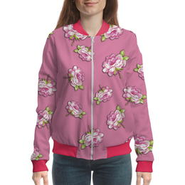 """Бомбер женский """"Цветы на розовом фоне"""" - цветы, роза, листья, пионы, розовые"""