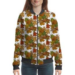 """Бомбер """"Листопад осенний бросил ворох листьев мне на плечи"""" - узор, листья, деревья, растения, мехенди"""