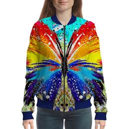 "Бомбер женский ""SAMUR!!!"" - бабочка, ярко, краски, тренд, геометрия"