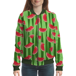 "Бомбер женский ""Арбуз"" - полоска, зеленый, арбуз, семена, дольки"