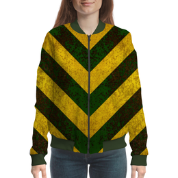 """Бомбер женский """"Полосы 3"""" - зелёный, жёлтый, полосы"""