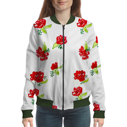 """Бомбер """"Бомбер Красные цветы"""" - лето, природа, цвести, красные цветы"""