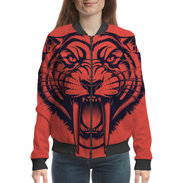 "Бомбер женский ""Саблезубый тигр"" - рисунок, тигр, саблезубый"