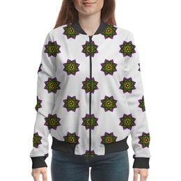 """Бомбер """"Неоновые цветы"""" - цветы, орнамент, этнический, индийский, мехенди"""