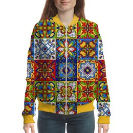 "Бомбер ""Mexican Design"" - жене, узоры, орнамент, мексика, изразцы"