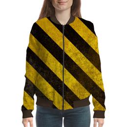 """Бомбер женский """"Полосы 6"""" - чёрный, жёлтый, полосы"""