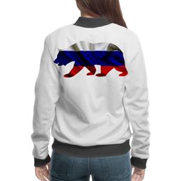"""Бомбер """"Русский Медведь"""" - bear, медведь, русский, флаг, russian"""
