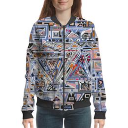"Бомбер женский ""Ташизм"" - арт, узор, синий, абстракция, фигуры"
