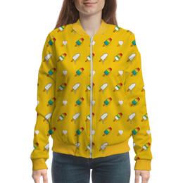 """Бомбер """"Поп арт дизайн. Мороженое паттерн"""" - радуга, стильный, модный, попарт, летний"""