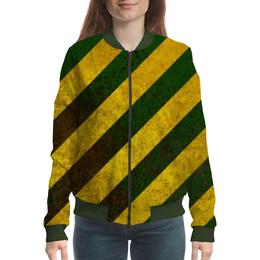 """Бомбер женский """"Полосы"""" - зелёный, жёлтый, полосы"""