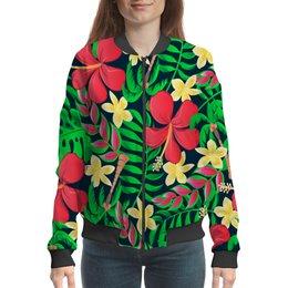 """Бомбер """"Тропические цветы"""" - цветочки, листья, природа, цветы, тропики"""