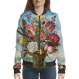"Бомбер ""Букет цветов на полке (Амброзиус Босхарт)"" - цветы, картина, живопись, натюрморт, босхарт"