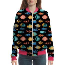 "Бомбер ""FishDesign"" - жене, женщине, рыбы, аквариум, рыбакам"