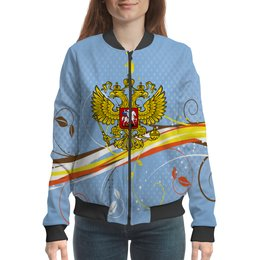 "Бомбер ""Россия"" - цветы, россия, герб, орел, хохлома"