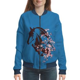 "Бомбер ""Лошадь"" - цветы, лошадь"