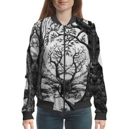 "Бомбер ""Tiger illusions"" - иллюзии, деревья, природа, абстракция, тигр"
