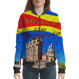 "Бомбер женский ""Замки Испании. Замок Сеговия."" - голубой, испания, полоски, крепость, испанский флаг"