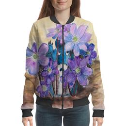 """Бомбер """"Первые цветы"""" - цветы, весна, тоторо, первоцветы, печёночница"""