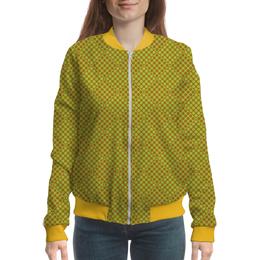 """Бомбер женский """"Горох в квадрате"""" - зеленый, квадрат, геометрия, коричневый, горох"""