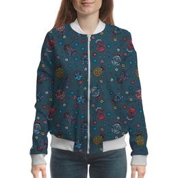 """Бомбер женский """"Цветочные черепа джинса"""" - череп, яркий, стильный, цветной, модный"""