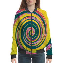 """Бомбер женский """"Спиральность"""" - спираль, желтый, зеленый, розовый, кольца"""