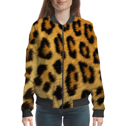 "Бомбер женский ""Леопард"" - леопард, звери, дикая природа"