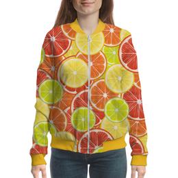 """Бомбер женский """"Цитрусы"""" - апельсин, лайм, лимон, грейпфрут, цитрусы"""