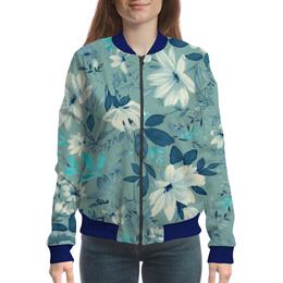 "Бомбер ""Цветы. Акварель"" - белый, голубой, лист, синий, акварель"