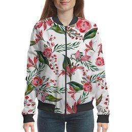 """Бомбер """"Цветы на белом"""" - цветы, роза, листья, природа, пион"""